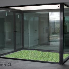 Patio interior en vivienda de diseño, Orense